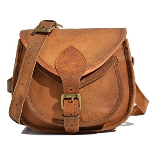S F Handmade Women Leather Vintage Style Genuine Brown Leather Cross Body  Shoulder Bag Purse 69922eb4f43ce