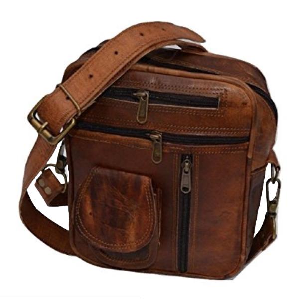 Brown Genuine Leather Messenger Bag Uni Toiletry Handbag Tote Purse 9 X 8